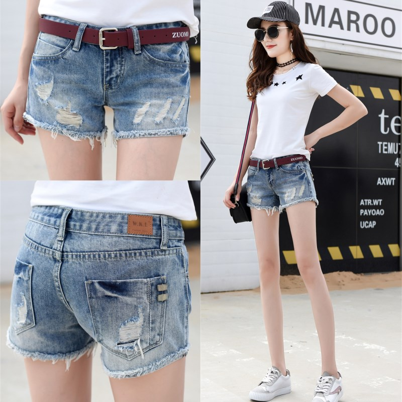 Low waisted denim shorts womens summer 2020 new Korean version versatile wear thin and perforated straight tube shorts jeans hot pants