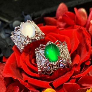 布契拉提 指环 宽版 VISING蕾丝复古冰种阳绿玉髓玛瑙女戒指 银饰