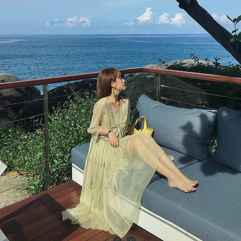 超仙洋气套装仙女裙秋2020新款大码女装两件套法式显瘦减龄连衣裙
