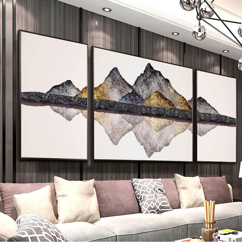 客厅装饰画新中式山水画风水靠山招财大气轻奢挂画沙发背景墙壁画