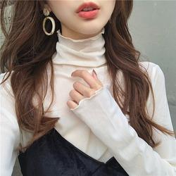 秋季2020新款小众设计感高领内搭网纱上衣仙女长袖蕾丝打底衫女