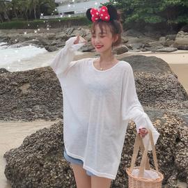 夏季女装韩版薄款透视长袖心机t恤女宽松百搭防晒衣罩衫网红上衣图片
