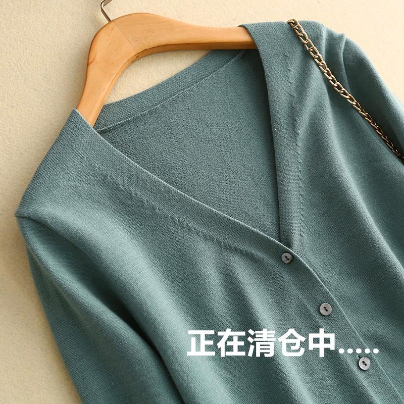特价春秋羊毛开衫女短款外搭v领薄宽松针织长袖毛衣韩版毛衫外套