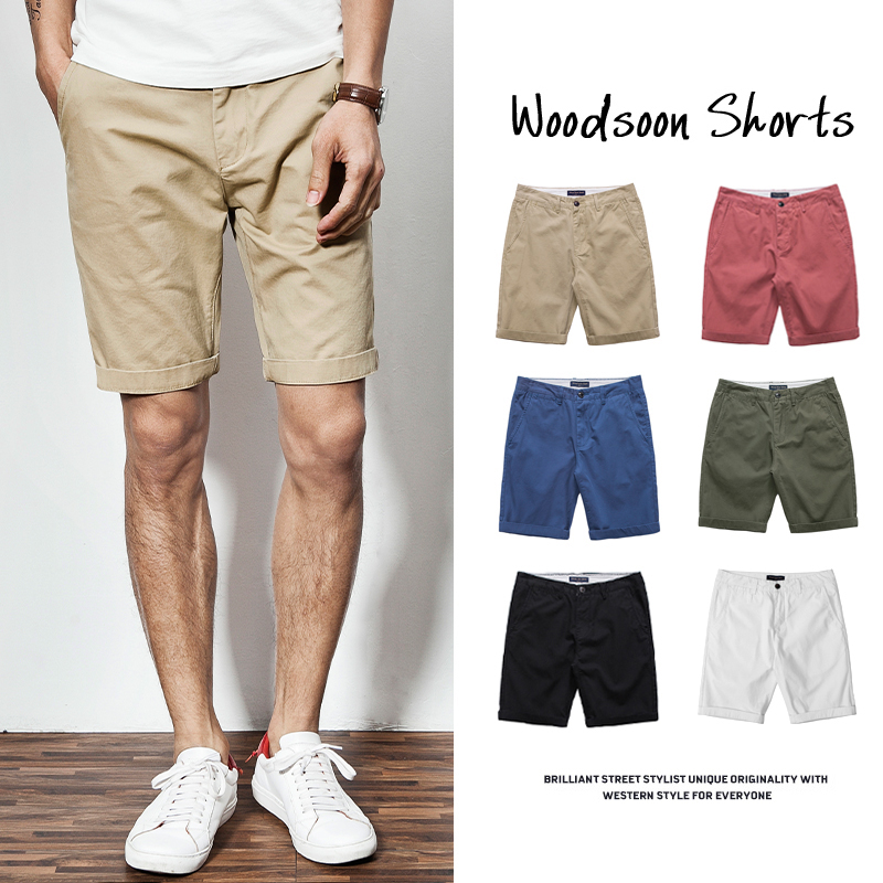 Casual shorts men's fashion summer trend loose cotton pants 5-point breeches beach pants wear white pants