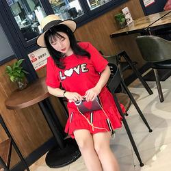 辣妈起义大码女装2018夏新款卫衣裙胖mm休闲显瘦T恤短裙两件套装