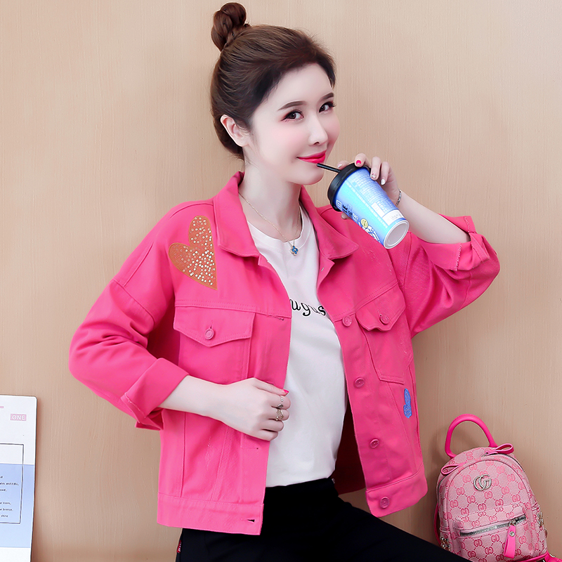 Korean short denim coat 2021 new womens spring and autumn letter embroidery love Sequin loose jacket