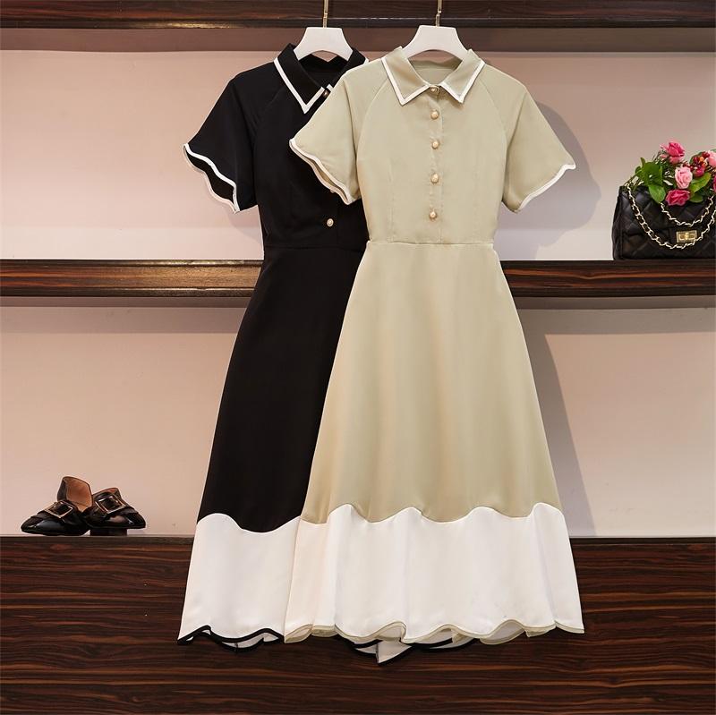 衣服女2019新品大码女装洋气连衣裙子夏装减龄胯大腿粗的遮肚显瘦限1000张券
