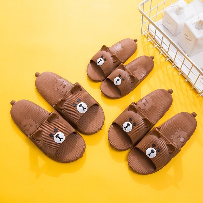 小熊拖鞋女可爱超萌夏浴室洗澡防滑室内软底情侣儿童卡通凉拖鞋男