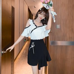 YF49221# 夏季新款法式小众不规则两件套套装荷叶边连衣裙 服装批发女装直播货源