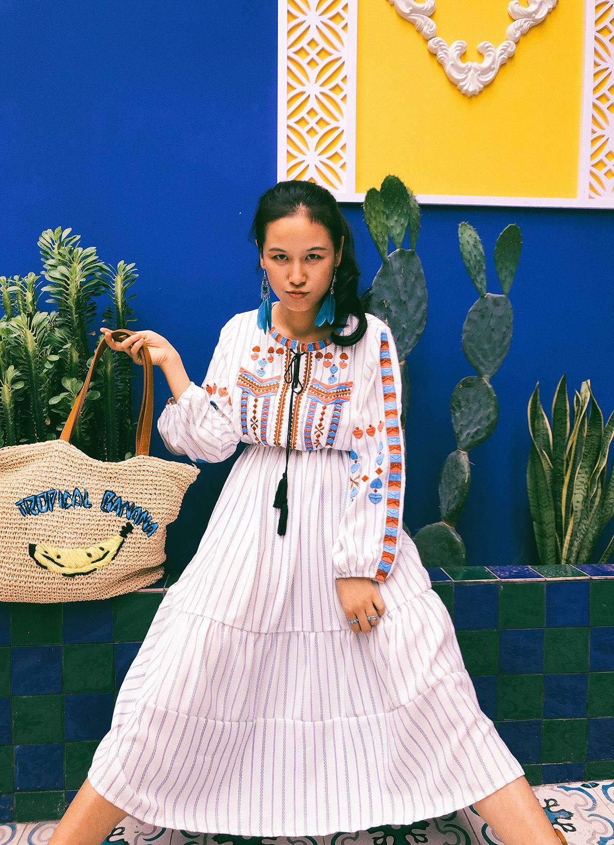 (用240元券)旅侠适合拍照的波西米亚条纹连衣裙
