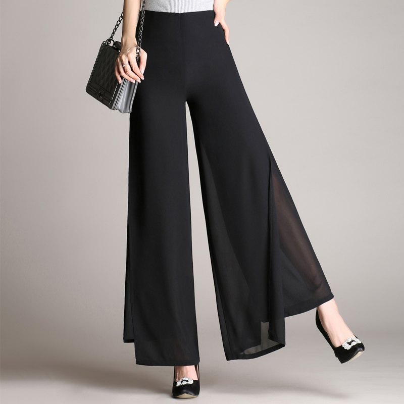 Summer thin high waist double layer Chiffon wide leg pants womens casual pants open flared pants skirt pants swing pants