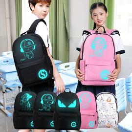 定制韩版儿童女孩初中小学生轻便书包男时尚潮流夜光休闲双肩背包图片