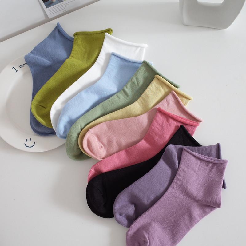 满4件包邮 夏天短袜子女韩国ins奶油糖果色全棉薄款卷边纯色女袜