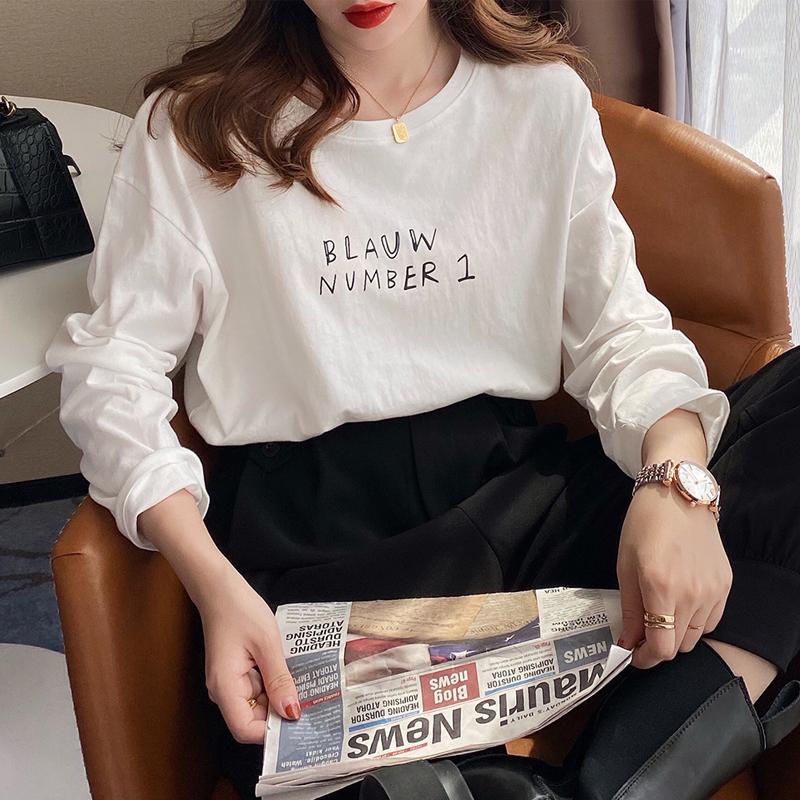白色t恤女长袖2021年新款夏打底衫内搭春秋宽松薄款纯棉短袖上衣