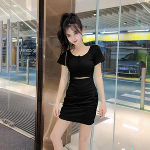 實拍實價控37夏天裙子新款小心機時尚收腰顯瘦露臍性感包臀連衣裙