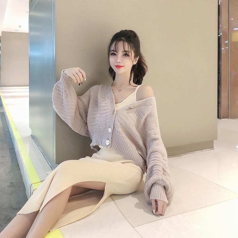 实拍实价控40/28秋季新款蝙蝠袖针织衫外套+针织连衣裙吊带裙套装