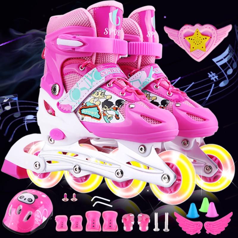 3-4-5-6-7-8-9-10-12岁男女溜冰鞋儿童全套装小孩轮滑鞋闪光可调