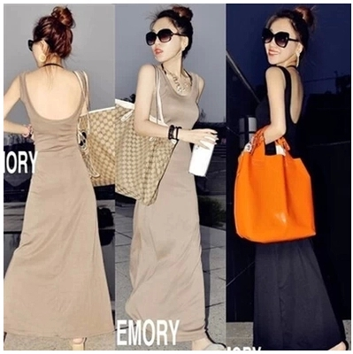 Early spring and summer 2019 large womens Vest Dress Large modal long skirt with black thin T-shirt