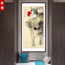 新品花鳥畫國畫新中式玄關裝飾畫客廳掛畫卷軸畫梨花蝴蝶絲綢畫