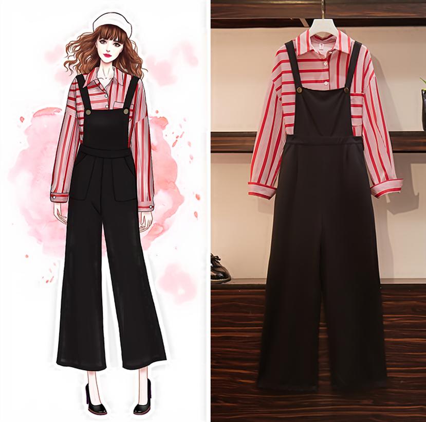 大碼女裝胖mm200斤秋裝新款套裝褲 時尚長袖條紋襯衫背帶褲兩件套