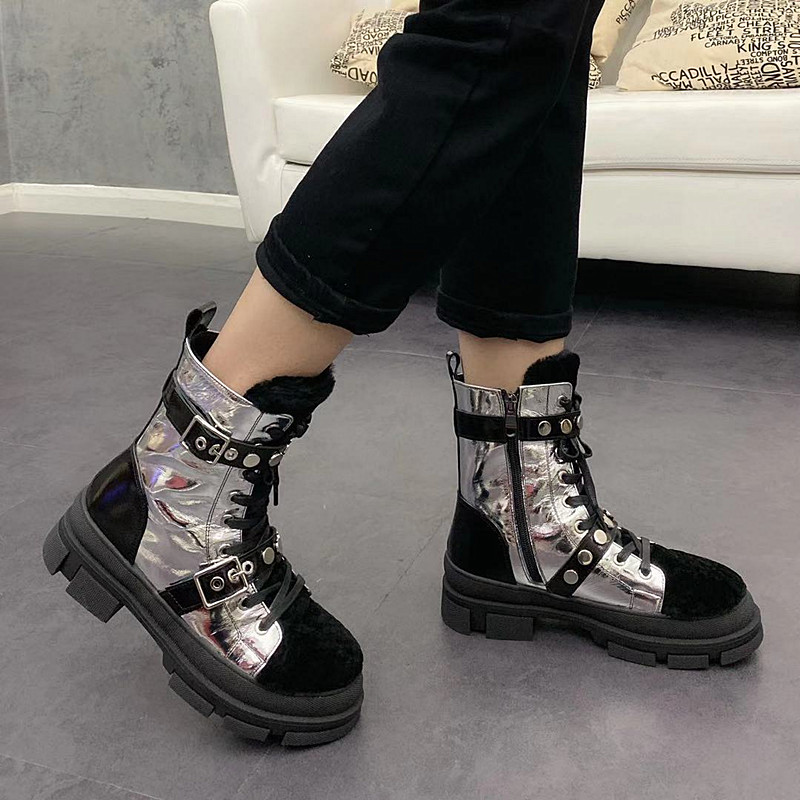 European station winter 2019 new womens cotton shoes thick soled short boots fashion punk Martin boots fur one snow boots fashion