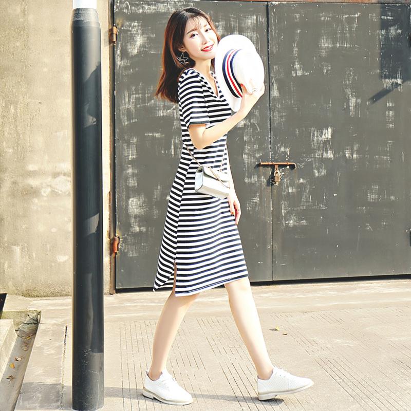 条纹连衣裙夏季2019新中长款V领短袖文艺修身收腰显瘦纯棉连衣裙