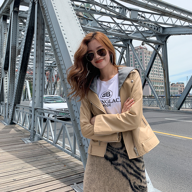 Casual sheepskin leather jacket Women Short 2019 new Korean slim detachable hooded leather jacket