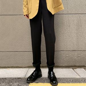 工装萝卜裤女春秋直筒烟管西装裤九分哈伦毛呢裤宽松黑色休闲裤潮