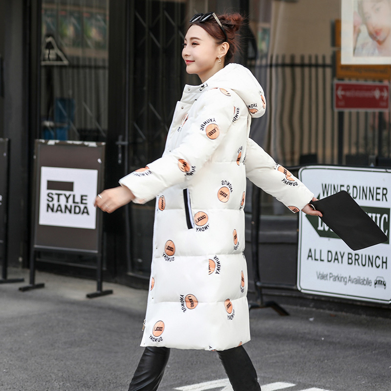 Ode to joy Yang Zi star same mid long knee down jacket womens 2020 white black print Hooded Jacket