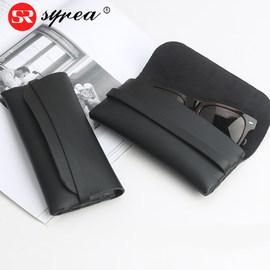 新款软皮革太阳眼镜盒大号便携简约黑色时尚男女小清新墨镜收纳盒图片