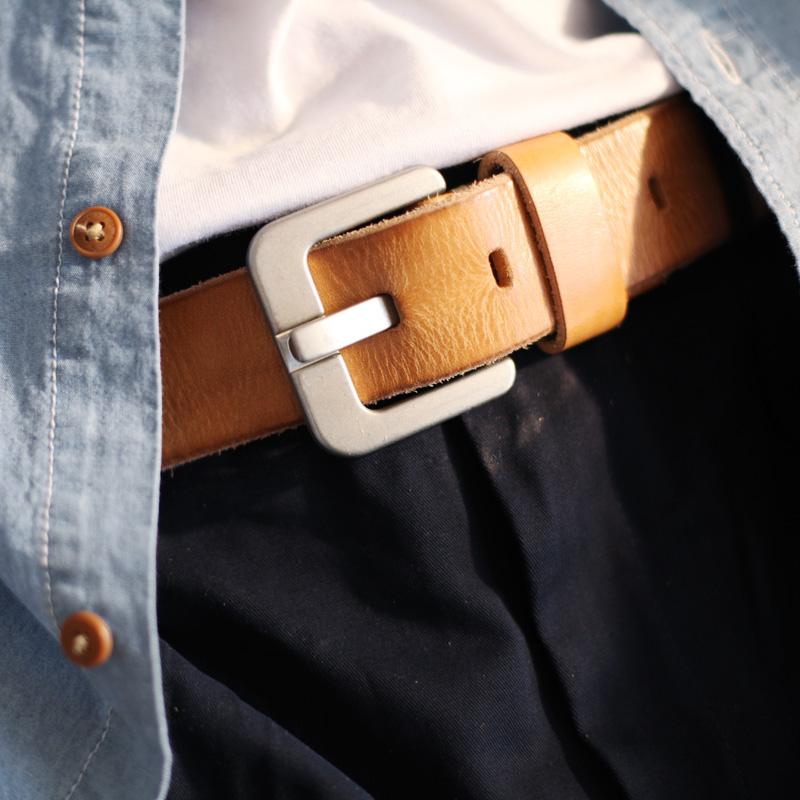 纯牛皮加厚加宽复古做旧手工针扣腰带黑色宽皮带青年真皮男女裤带