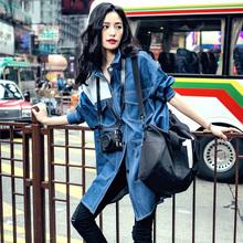 宽松女学生风衣 中长款 韩版 蓝色拼接2019春秋bf风牛仔衣短外套开衫
