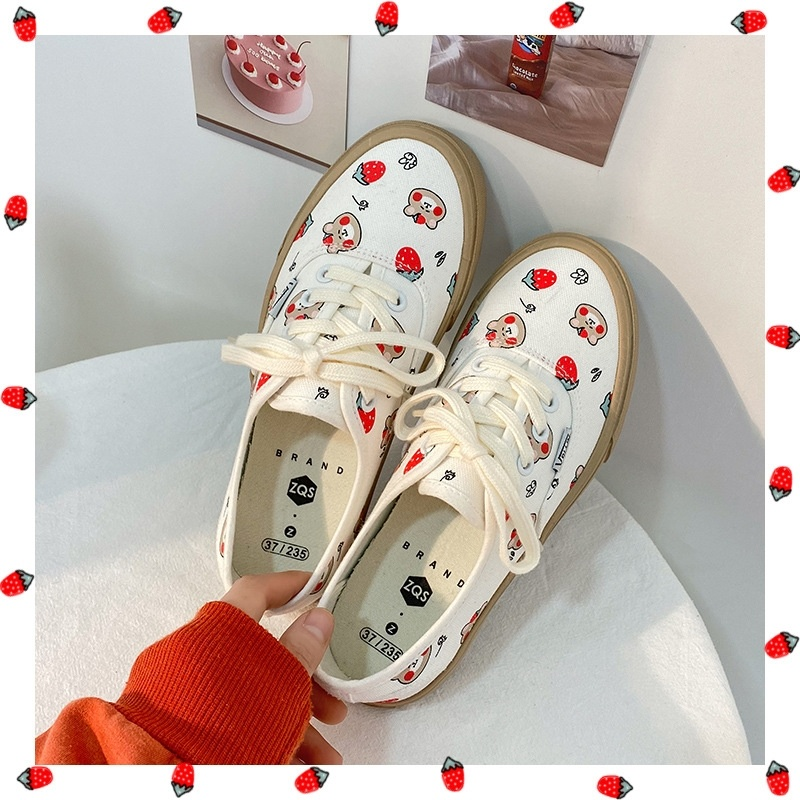 Mizao 2021 new Japanese Cartoon Bear canvas shoes womens board shoes net red low top sports shoes printed cute