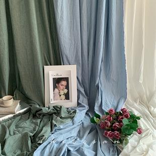 純棉拍照背景布ins網紅莫蘭迪藍綠白色掛牆麻布甜品婚禮攝影道具