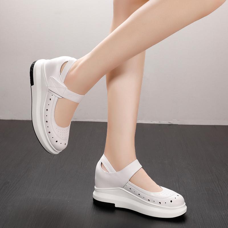 真皮内增高玛丽珍女鞋护士鞋厚底松糕凉鞋休闲洞洞鞋懒人夏季韩版