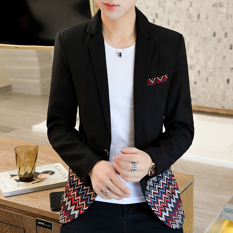 Mens Blazer Korean casual color matching suit coat pishuai spring and autumn top 2021 new mens single breasted