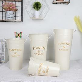 创意简约花桶鲜花桶铁艺插花花器鲜花店装饰铁桶花瓶干花花桶客厅图片
