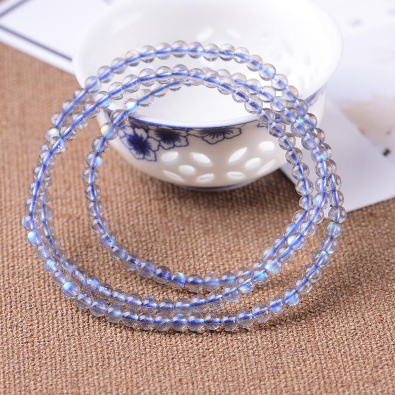 天然玻璃体灰月光三圈手链男女款简约时尚拉长石手串转运高人气款