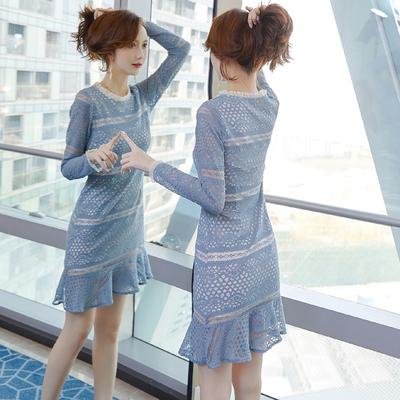 蕾丝连衣裙秋装女装2019年新款潮流行裙子仙女超仙森系初秋气质