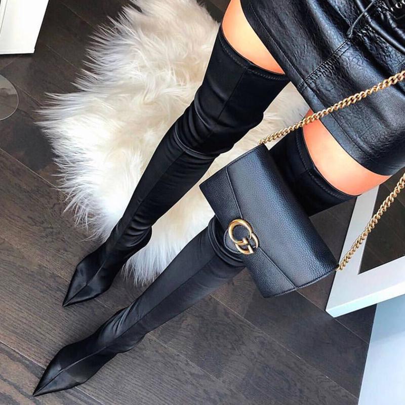 超长粗腿过膝长靴女2019冬季新款尖头细跟高跟单靴长筒袜子弹力靴