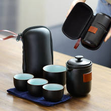 Moyan Black Pottery Travel Kung Fu Teaware Set A Pot, Four Cups Portable Walkbags, Fast Guest Cup, Teapot Shaking