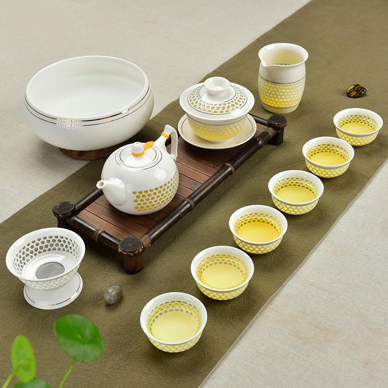 瓷牌茗青花瓷玲瓏茶具套裝蜂窩鏤空陶瓷功夫茶具冰晶蜂巢茶壺茶杯
