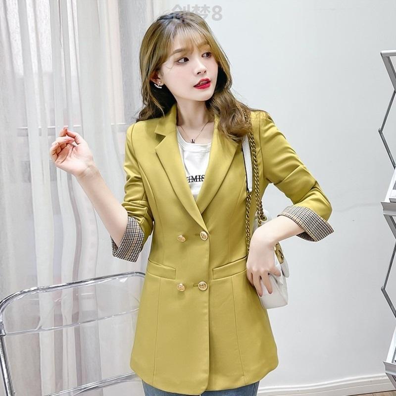 High end comfortable Blazer coat womens spring commuting Lapel double row button short coat classic color contrast breathable