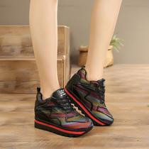 春秋季韩版网鞋内增高运动鞋女透气网面女鞋厚底松糕鞋单鞋高跟鞋