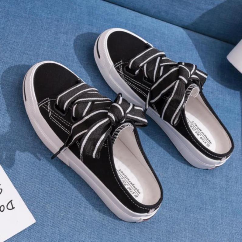 白边韩式外穿拖鞋女凉鞋半拖夏季帆布外出露趾简单款新娘脚趾头适