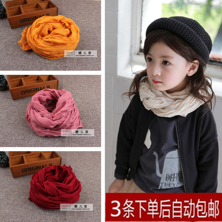 Japan and South Korea autumn new pure color pleated towel linen gauze cotton linen childrens scarf boys and girls childrens baby silk scarf