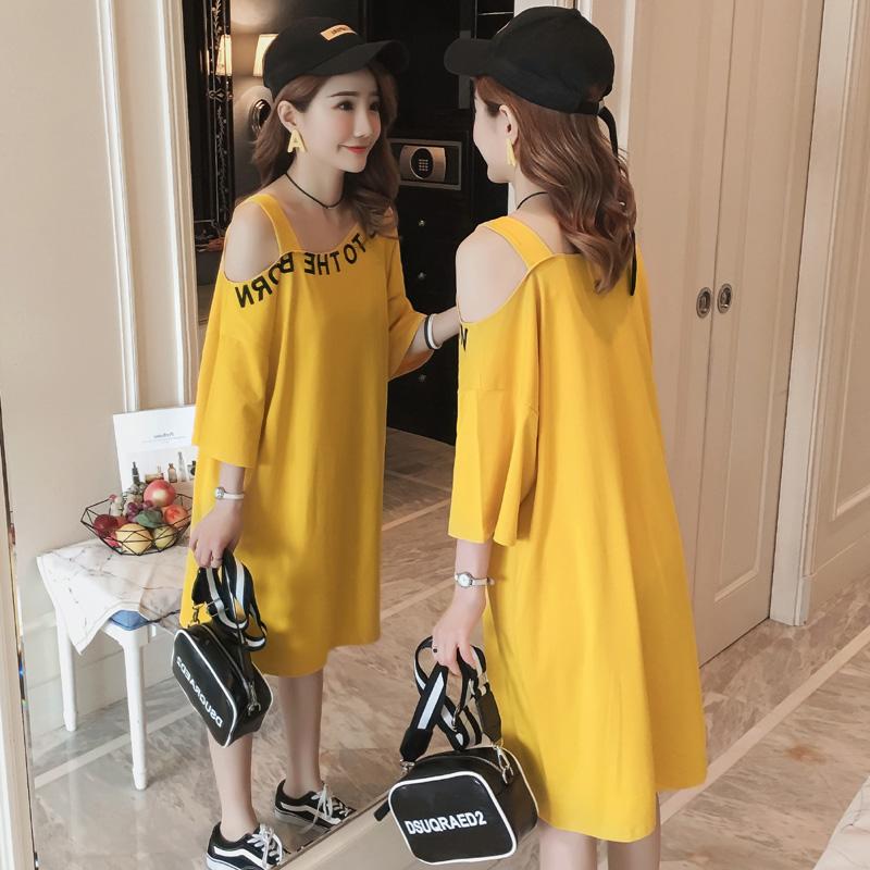 韩版夏装纯棉一字领露肩中长款短袖t恤裙时尚大码宽松连衣裙女潮