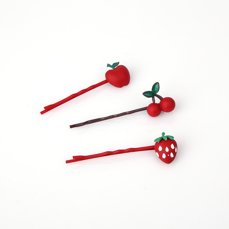Strawberry hairpin Lolita net red edge clip girl cherry blossom fruit clip Japanese cute side clip simple
