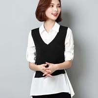 实拍现货2018年春季新款韩版打底衫上衣宽松中长款假两件长袖t