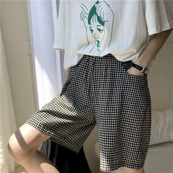 休闲夏季格子宽松学生bf显瘦阔腿裤